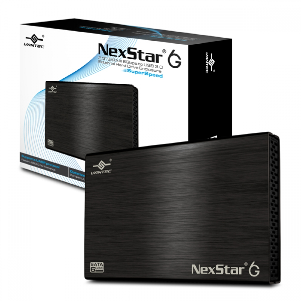 Vantec NexStar 6G NST-266S3-BK 2.5 inch SATA3 to USB 3.0 External Hard Drive Enclosure (Black)